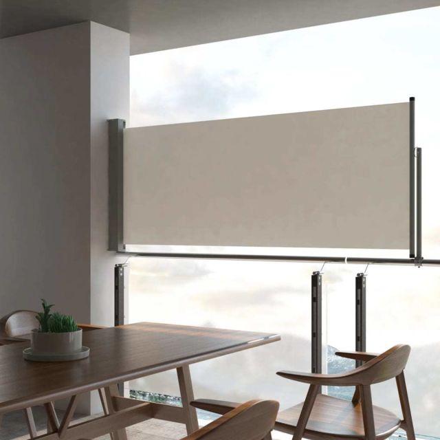 Vidaxl Auvent latéral rétractable de patio 100 x 300 cm Blanc cassé