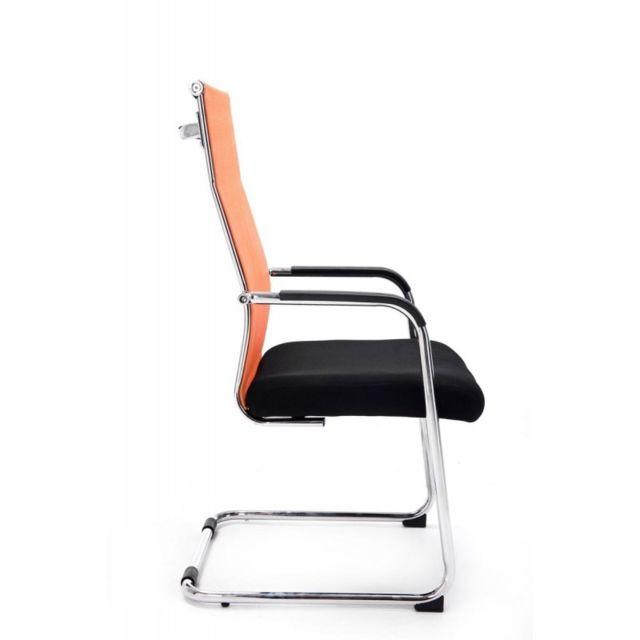 Chaise pour visiteur fauteuil de bureau avec accoudoirs orange pieds chromé Bur10147