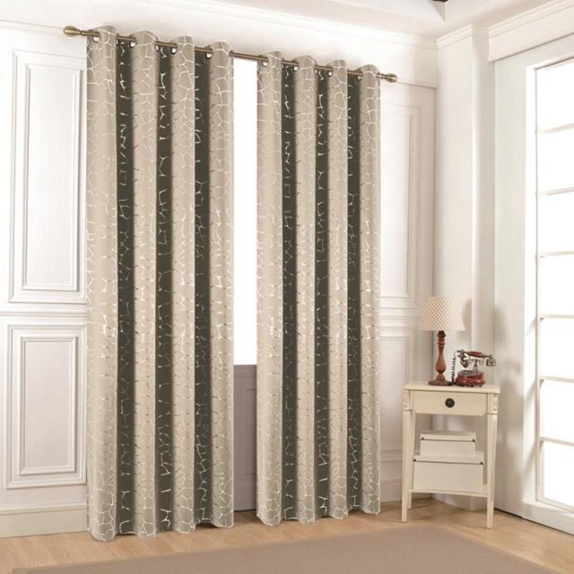 sweethome paire de rideaux occultant avec motifs argent s 140 x 260 zuric argent autre. Black Bedroom Furniture Sets. Home Design Ideas