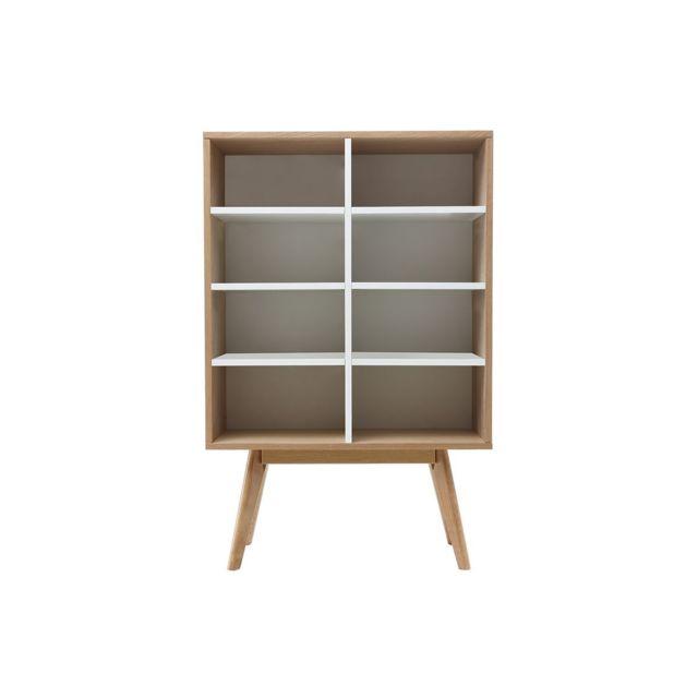 Miliboo - Bibliothèque design scandinave chêne et blanc Helia - pas ... dbee3056b95a