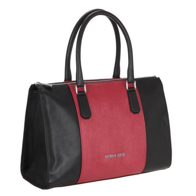 22c49bde5d01 Armani - Jeans Sac a Main 922060-6A725 Noir et Rouge Femme - pas cher Achat    Vente Sacs à main - RueDuCommerce