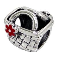 Sochicbijoux - So Chic Bijoux © Charm Perle Panier Style Osier Fleur Email Rouge Argent 925 - Compatible Pandora, Trollbeads, Chamilia, Biagi