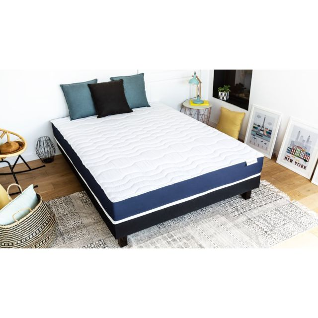 hbedding ensemble matelas m moire sommier 140x190 memory fresh mousse haute densit et. Black Bedroom Furniture Sets. Home Design Ideas