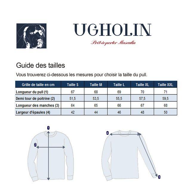 Ugholin Pull col V homme en 100% laine de yak noir pas