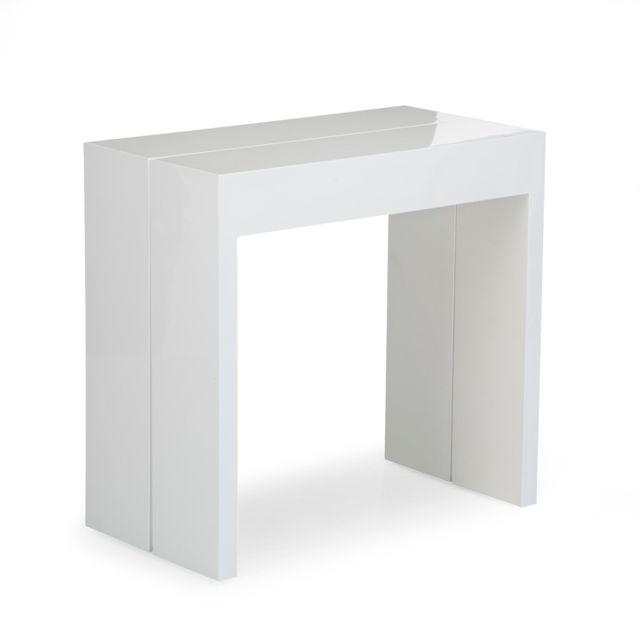 Alinéa Speed Table Console Blanche L42 à 197cm 1 à 10