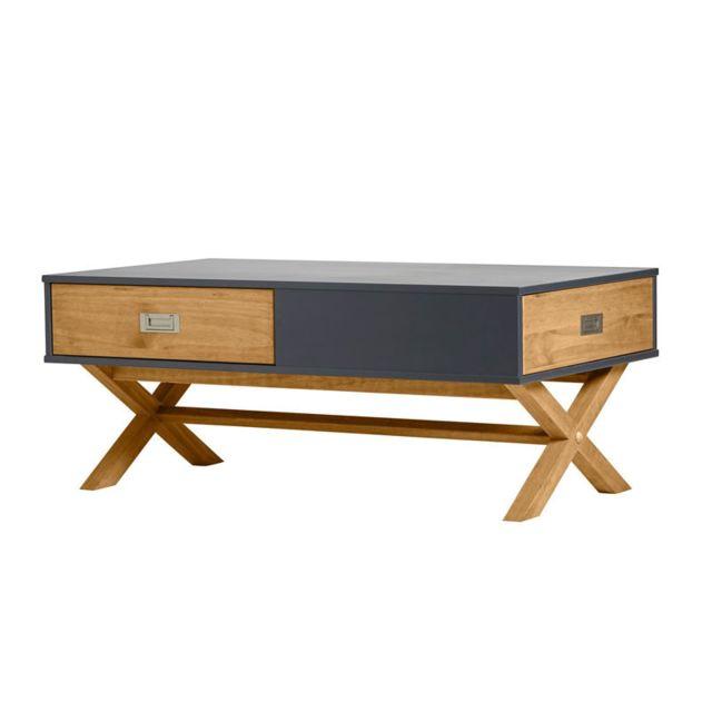 Tousmesmeubles Table basse 2 tiroirs Gris anthracite/Bois - Raphy