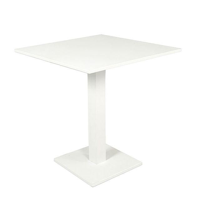 Gecko Jardin Table pliante carrée en alu blanc 70 x 70 cm Otrante