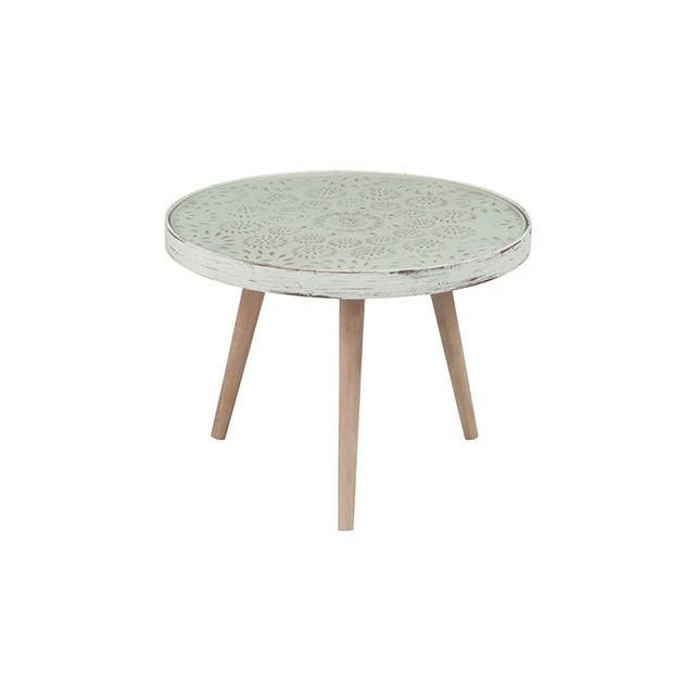 Table gigogne ronde 61diam beige