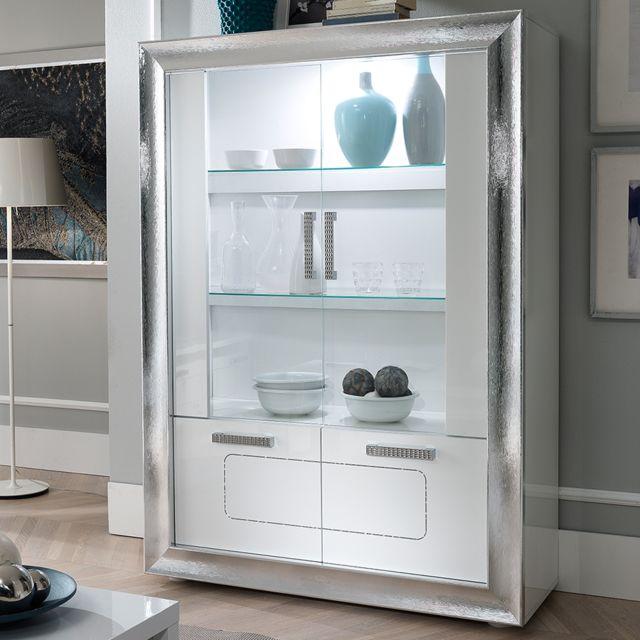 Nouvomeuble Vaisselier Led blanc laqué design Nevahe
