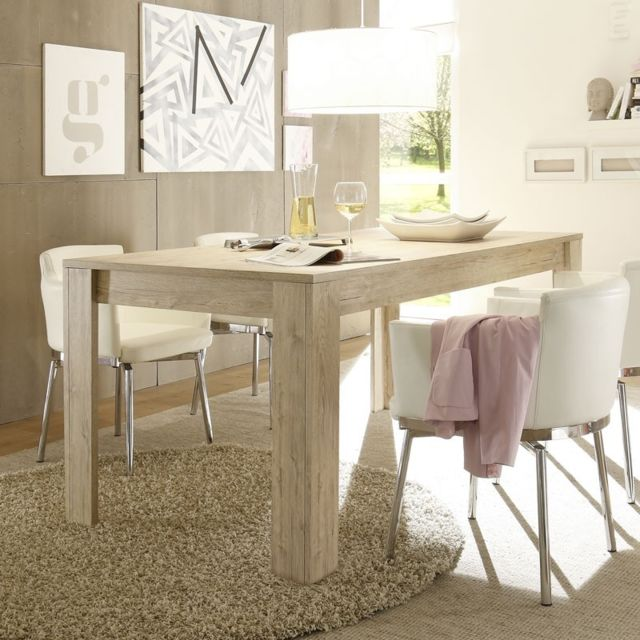 Tousmesmeubles Table de repas Chêne clair - Palerme n°2