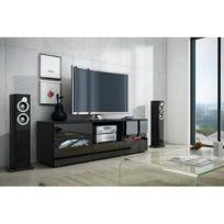 COMFORIUM - Meuble TV design 134 cm coloris béton et blanc avec 2 ... e20ad3e56023