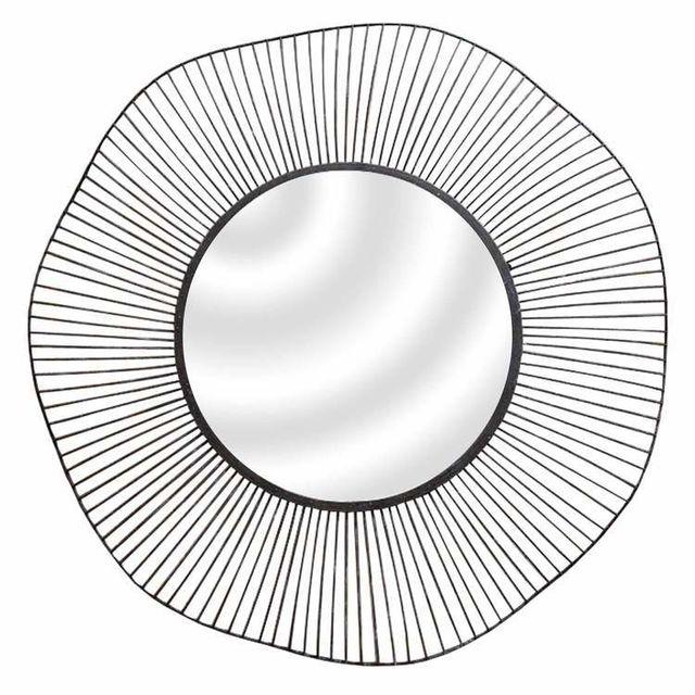 Emde Miroir filaire rond en métal noir D.75cm Wire