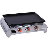 FAVEX - plancha gaz 5120w plaque acier chemlon 64x50cm noir - 862.0010