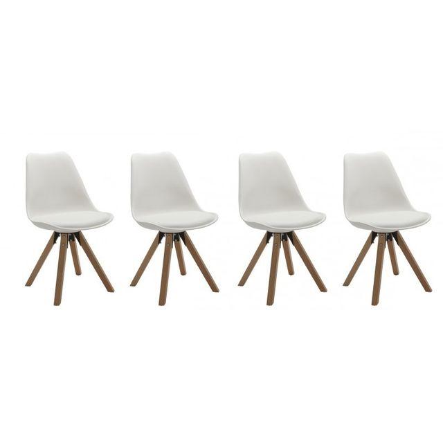 Autre Set de 4 chaises de salle à manger design simili-cuir blanc pieds bois Cds09126