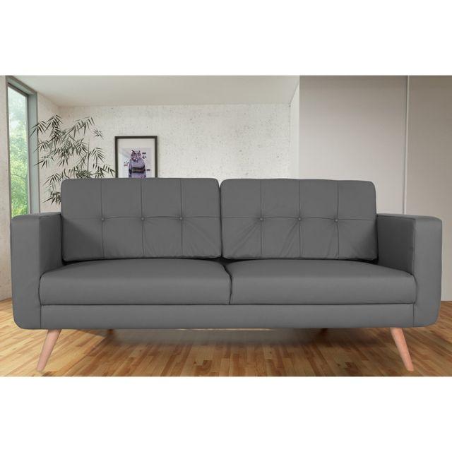 Rocambolesk Canapé fixe Hedvig 3 Pu Soft 29 Gris sofa divan