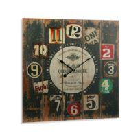 Versa - Horloge carrée bois Numbers 58 cm