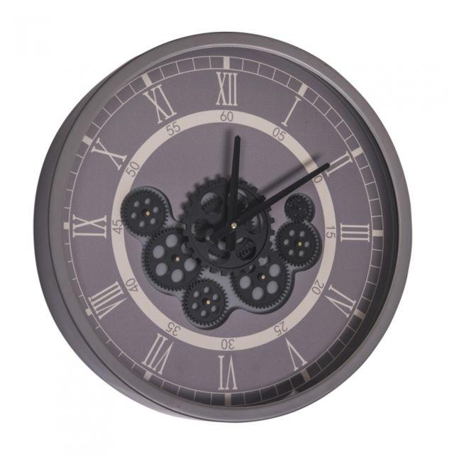 TABLE PASSION Horloge Gear 46 cm fond gris