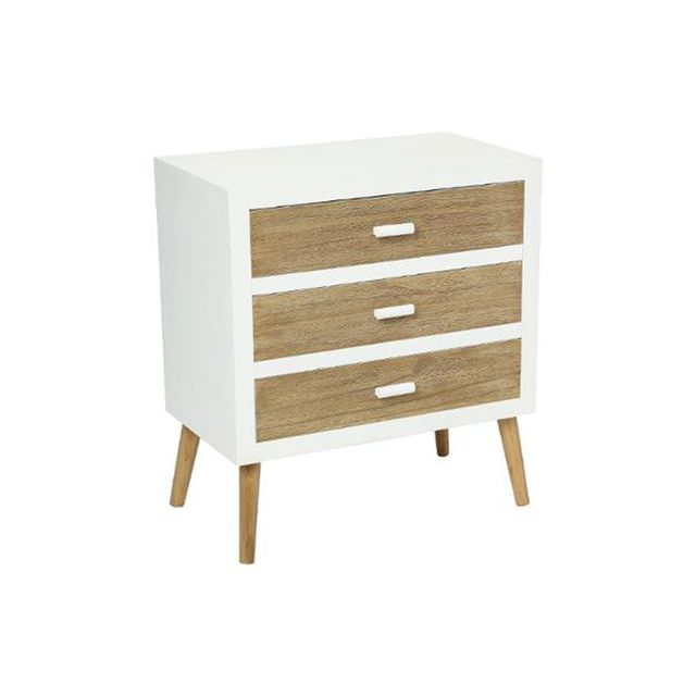 atmosphera commode scandinave 3 tiroirs helga beige blanc pas cher achat vente commode. Black Bedroom Furniture Sets. Home Design Ideas