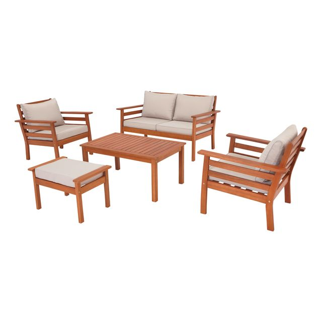 carrefour salon bas de jardin jakarta 5 pi ces bois et cru pas cher achat vente ensembles. Black Bedroom Furniture Sets. Home Design Ideas