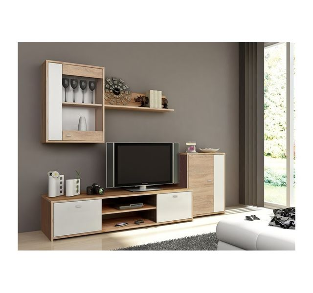 CHLOE DESIGN Meuble tv design TAGEN - bois et blanc