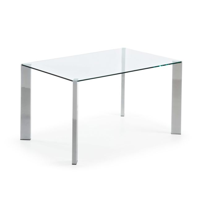 Kavehome Table Spot 140x90 cm, argent et transparent