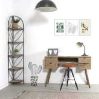 Made In Meubles - Bureau scandinave patine bois brossé 4 tiroirs 1 étagère | Dn624