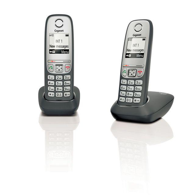 gigaset t l phone fixe sans fil sans r pondeur as435 duo noir pas cher achat vente. Black Bedroom Furniture Sets. Home Design Ideas