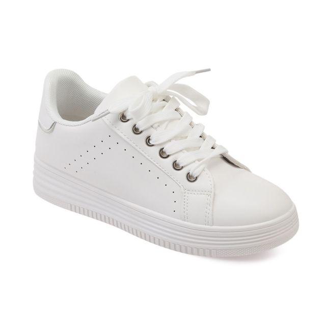 8e738766936d9b Lamodeuse - Baskets blanches en simili-cuir - pas cher Achat / Vente ...