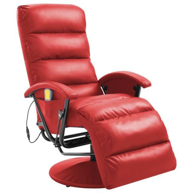 Distingué Fauteuils et chaises edition Suva Fauteuil de massage TV Rouge Similicuir