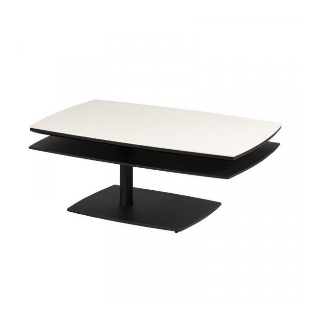 Dansmamaison Table basse Blanc/Noir - Balf - L 100 / 130 x l 65 x H 40 cm