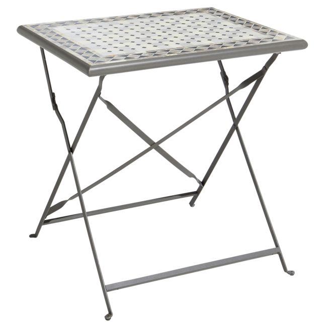 CARREFOUR - Table de balcon pliante - Métal et céramique ...