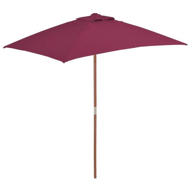 Vidaxl Parasol avec mât en bois 150 x 200 cm Bordeaux