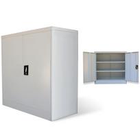 Rocambolesk - Superbe Armoire métallique de bureau avec 2 portes 90 cm Gris neuf