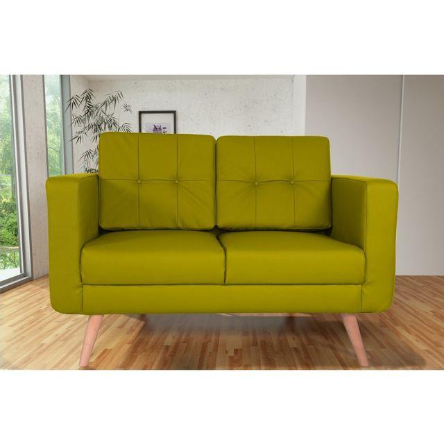 Rocambolesk Canapé fixe Hedvig 2 Pu Soft 13 Apple sofa divan