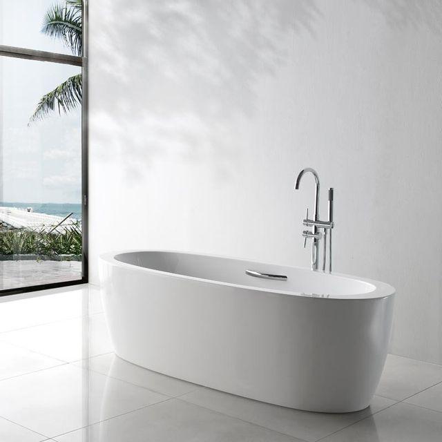 rue du bain baignoire ilot ovale acrylique blanc 180x80 cm turin 75cm x 170cm pas cher. Black Bedroom Furniture Sets. Home Design Ideas