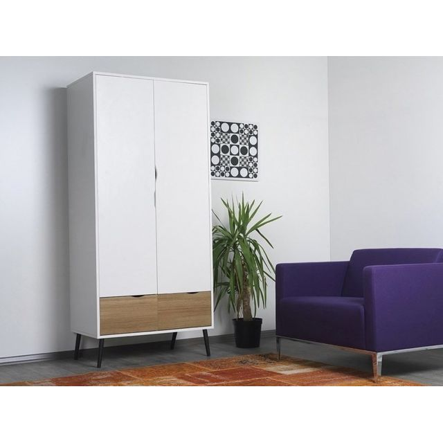 Homense - Dressing Armoire Penderie Design Pietement Metal Blanc ...
