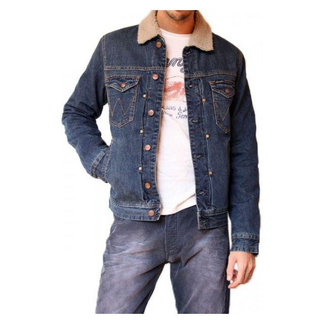 veste en jean col mouton homme pas cher