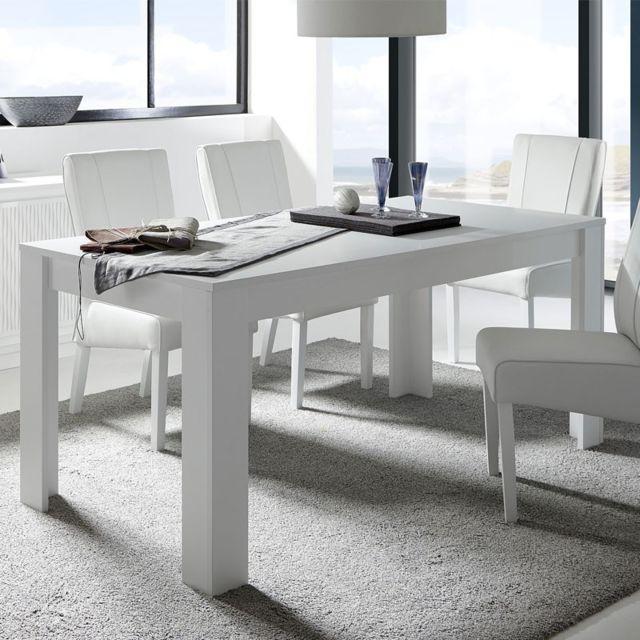 Tousmesmeubles Table de repas Blanc mat - Pise