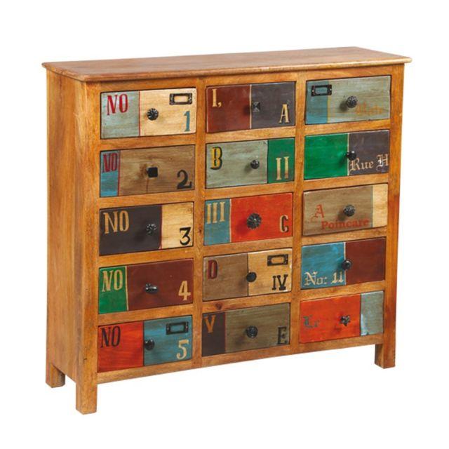 Tousmesmeubles Commode 15 tiroirs en bois de Palissandre - Denver - L 100 x l 31 x H 91