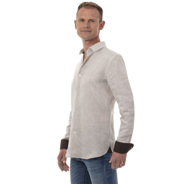 UGHOLIN Chemise lin homme beige col classique