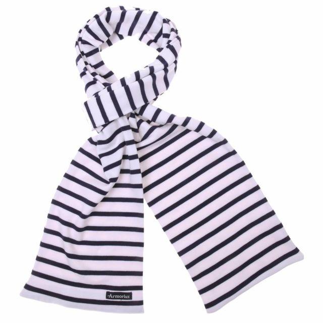 b42916904954 Armor-lux - Echarpe Pagaie en coton blanc à rayures bleu marine Armor Lux - pas  cher Achat   Vente Echarpes, foulards - RueDuCommerce