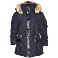 No Brand - Altrov Veste Daren bleu doudoune fourrure véritable homme 3/4 long - Collection hiver 2017-doudoune, fourrure, veste, doudoune, cuir, homme