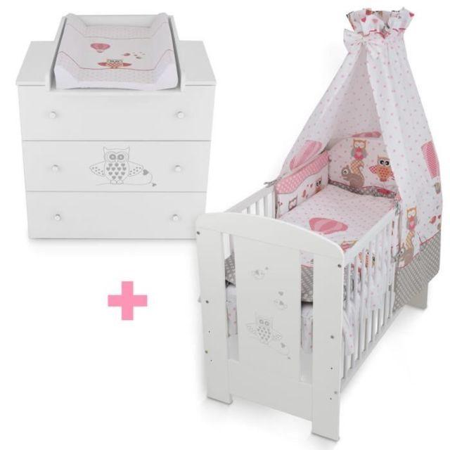 Klups Lit bébé+ Set de lit+ Commode Hibou rose