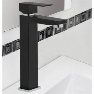 robinet mitigeur de lavabo et vasque cubique noir bonde carree metal design carre pas cher. Black Bedroom Furniture Sets. Home Design Ideas