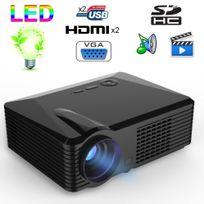 Yonis - Vidéoprojecteur Led 2500 Lumens Full Hd 1080P Home cinéma 120W Noir