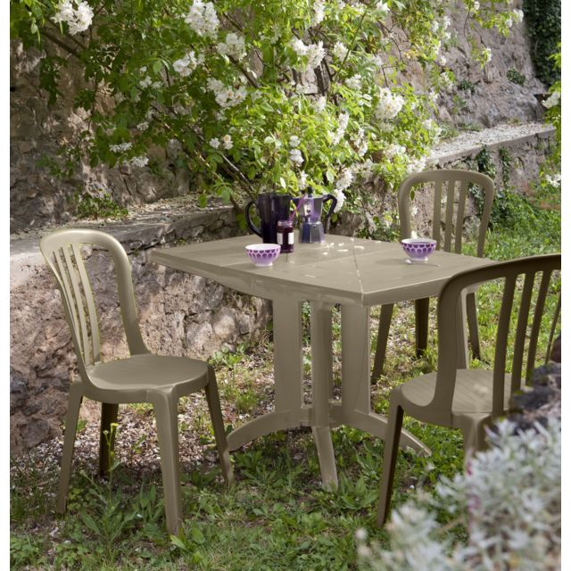 Grosfillex - Salon de jardin 4 couverts vega 118 x 77 cm taupe - pas ...