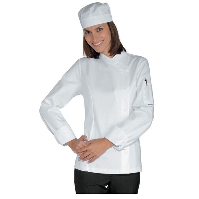 isacco veste de cuisine blanche femme 100 coton pas cher achat vente v tements de cuisine. Black Bedroom Furniture Sets. Home Design Ideas