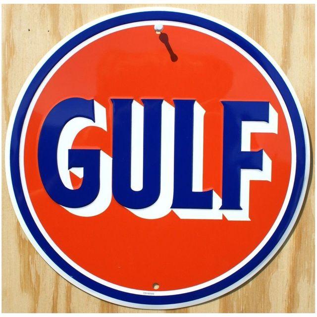 Universel Plaque gulf orange ronde deco garage huile affiche tole