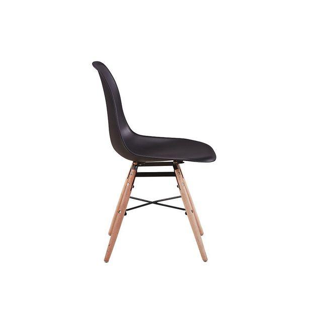USINESTREET - Lot de 2 Chaises scandinaves LUNA Coque plastique et pieds bois - Couleur - Noir