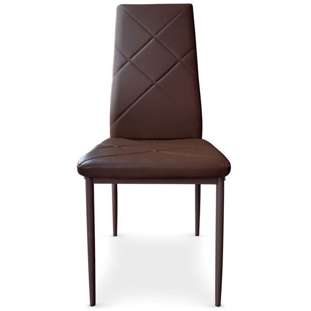 MENZZO Lot de 8 chaises Lotus Marron